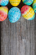 Easter painted eggs on a wooden - 192364856