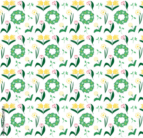 Seamless abstract spring flower pattern vector illustration sketch