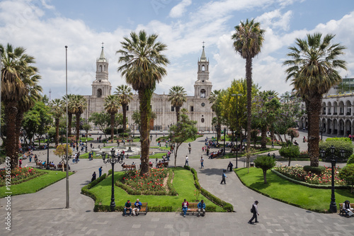 Arequipa city main square and cathedral
