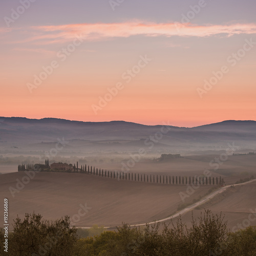 Fotobehang Toscane Morning glory of Tuscany