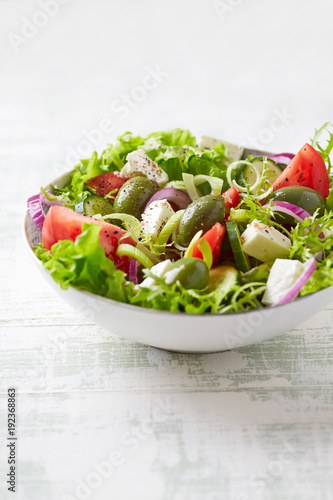 Mediterranean-style salad with feta, endive and green olives