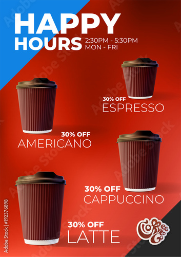 Coffee to Go Happy Hours Discount Poster