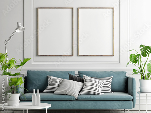 Mock up posters, pastel comfortable sofa, Living room style, 3d render, 3d illustration © nikolarakic