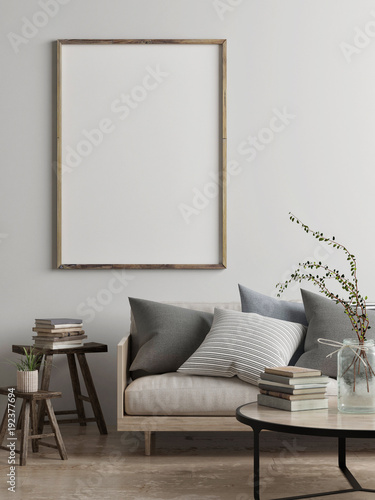 Mock up poster, Scandinavian living room concept design, 3d render, 3d illustration
