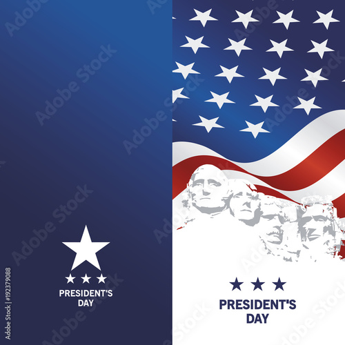Presidents Day Rushmore USA flag patriotic template blue background greeting card