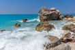 Quadro Amazing landscape of blue waters of Megali Petra Beach, Lefkada, Ionian Islands, Greece