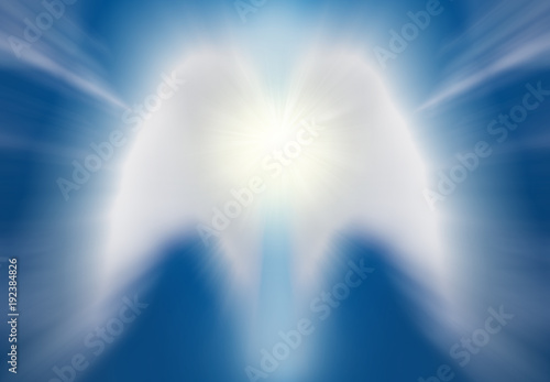 Beautiful abstract shape of an angel drawing with clouds on blue sky - 192384826