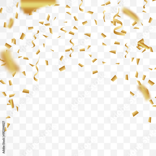 The realistic drop of shiny golden confetti glitters New Year, birthday, design element of the Valentine's Day. Holiday design on a transparent background.