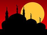 Silhouette mosque sunset sunrise