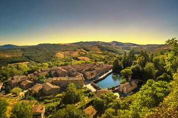 Tuscany, Santa Fiora medieval village, peschiera and church. Monte Amiata, Grosseto, Italy
