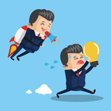 Businessman flying jetpack leading teamwork icon vector illustration graphic design - 192392278