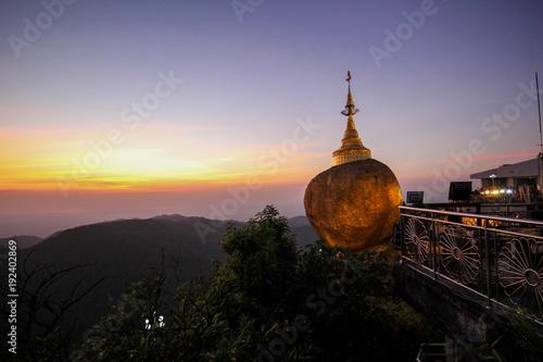 Tuinposter Lavendel Golden rock of Kyaiktiyo, Myanmar.