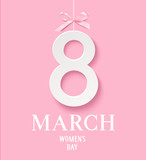Happy Women's Day 8 March. Decorative white number 8 with pink bow. Vector illustration. International womens day design