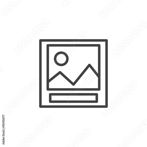 Fotobehang Wit Landscape photo outline icon. linear style sign for mobile concept and web design. Picture simple line vector icon. Symbol, logo illustration. Pixel perfect vector graphics