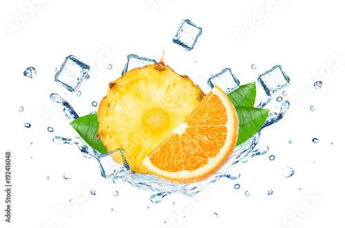 pineapple and orange splash water and ice cubes isolated