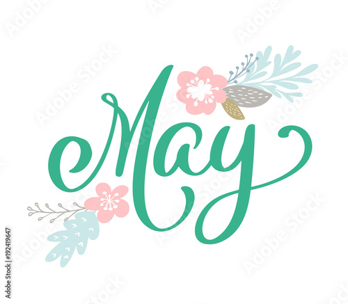 Hand sketched hello may text as logotype and scandinavian flowers hand sketched hello may text as logotype and scandinavian flowers spring postcard card invitation banner m4hsunfo