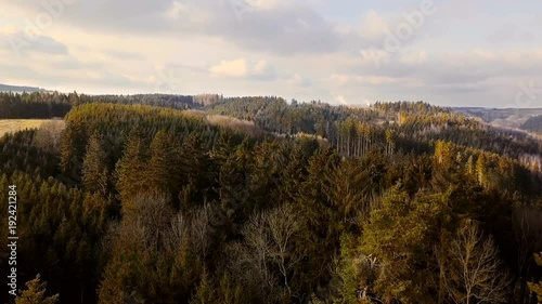 aerial countryside highland landscape with forest