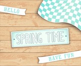 Hello Spring Time. Creative design elements. Label in style car license plate. Top view. Vector illustration - 192425612