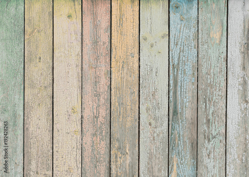 wood background or texture with pastel colored planks - 192428263