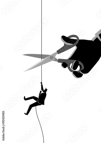 Businessman climbing on rope being cut with scissors