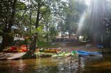 tourist base of kayaks and canoes, summer adventure kayak, rafting to canoe - 192430608