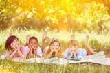 Multikulturelle Gruppe Kinder im Sommer in der Natur - 192430882