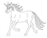 beautiful magical running unicorn, coloring page - 192431006
