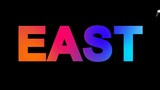 text EAST multi-colored appear then disappear under the lightning strikes changing color. Alpha channel Premultiplied - Matted with color black - 192431435