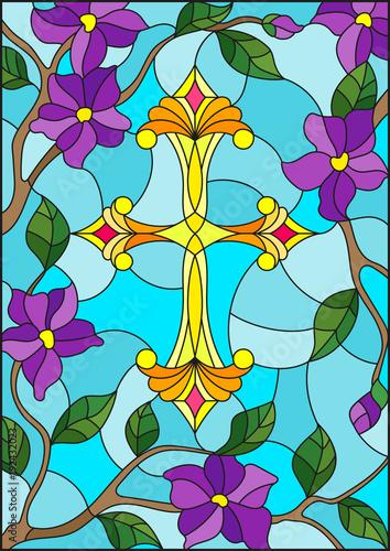 witraz-ilustracja-z-zoltym-chrzescijanina-krzyzem-w-purpurach-i-niebie