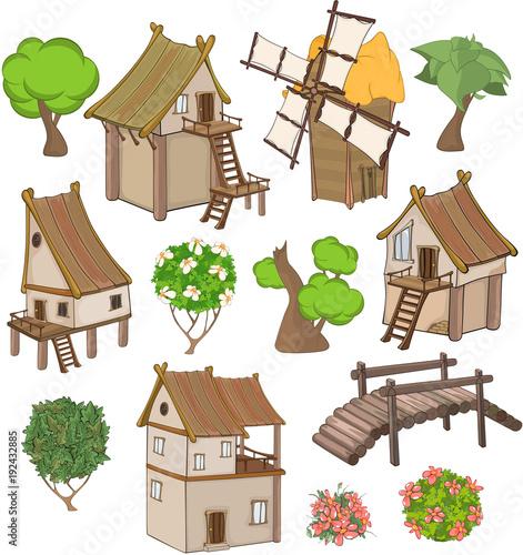Fotobehang Babykamer Set of cute Housesand Garden Plants for you Design and Computer Game