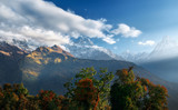 Scenic Himalayas landscape with and mountain ranges on sunrise.