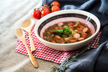 Traditional homemade Sausages with beans soup