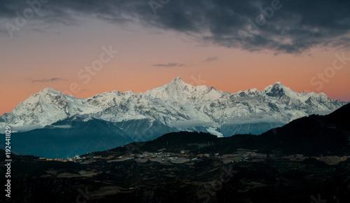 The peak of the Meili mountains at sunrise.Kawagarbo