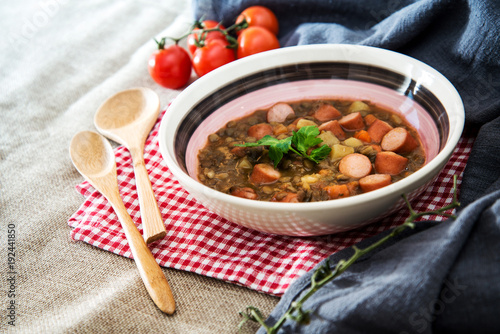 Traditional homemade Sausages with beans soup - 192441850