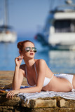 woman with sunglasses of marina on hot summer day - 192442072