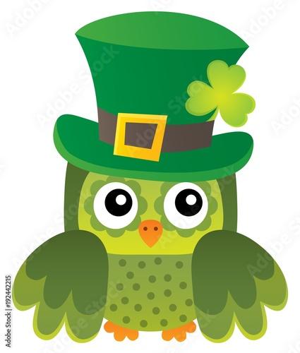 Fotobehang Voor kinderen St Patricks Day theme with owl image 1