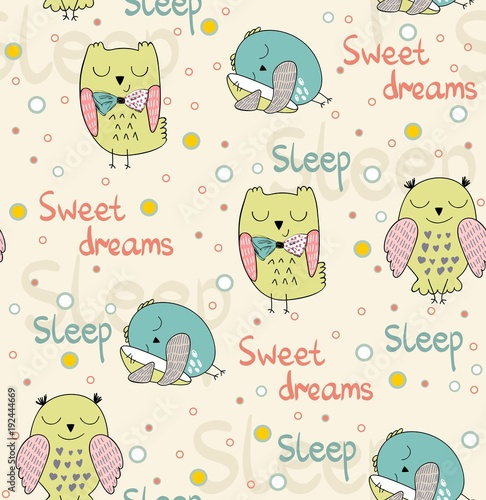 Fotobehang Uilen cartoon Cartoon Sleeping owls. Cute Hand Drawn seamless pattern