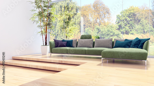 Modern bright interiors 3D rendering illustration - 192451248