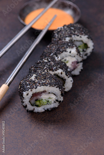 Keuken foto achterwand Sushi bar Sushi roll with salmon and avocado and cream cheese