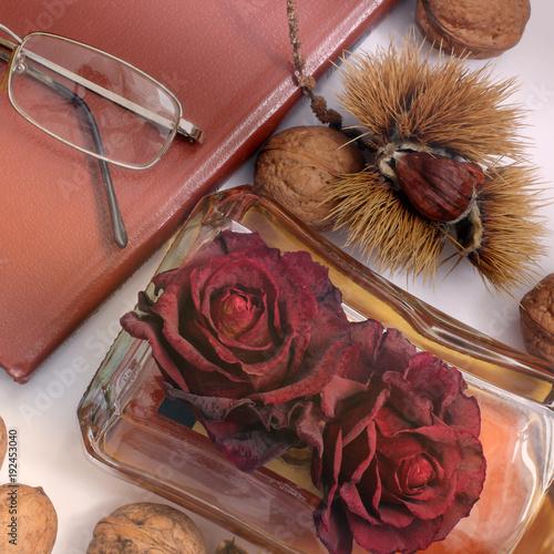 Composition. Tea, books, glasses and chestnuts. Romance. Literature