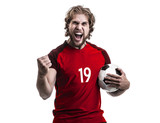 Male athlete / fan in red uniform celebrating on white background - 192453201