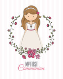 my first communion girl. beautiful girl with communion dress and flower frame