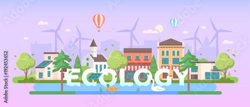 Fotobehang Purper Ecology - modern flat design style vector illustration