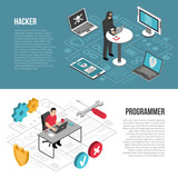 Hacker Programmer Isometric Banners - 192454626