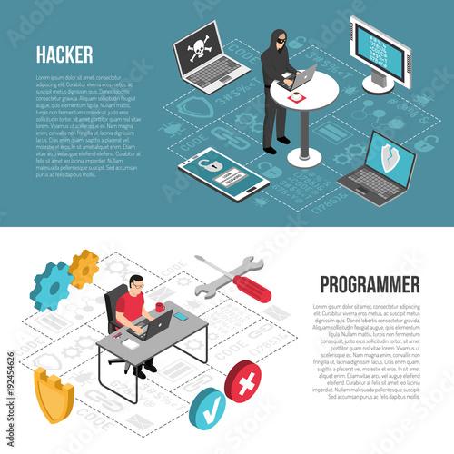 Hacker Programmer Isometric Banners