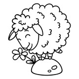 Sheep with a flower. Isolated objects on white background. Vector illustration. Coloring pages. Black and white illustration. - 192455293
