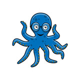 Blue octopus with glasses - 192468868