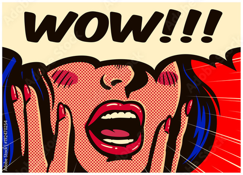 Retro pop art style surprised and excited comics woman with open mouth and speech bubble saying wow vintage vector illustration © durantelallera