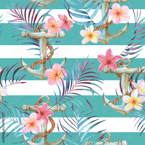Materiał do szycia Hand-drawn watercolor sea pattern with anchor, plumeria flowers and palm leaves. Summer repeated background