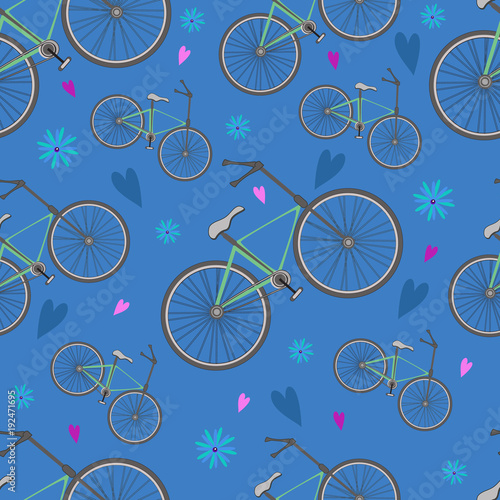 Seamless pattern from bikes and flowers on a blue background